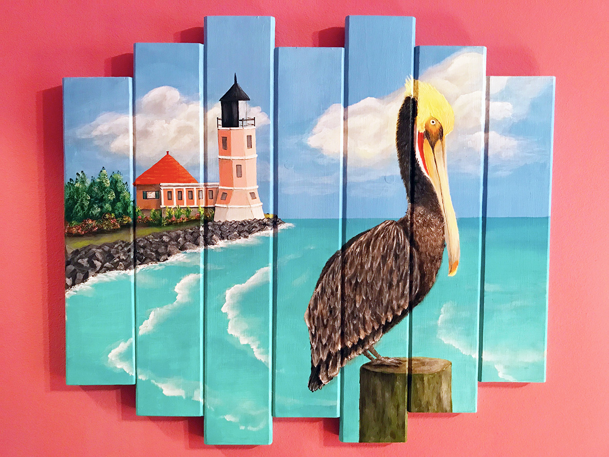 Lighthouse with Pelican